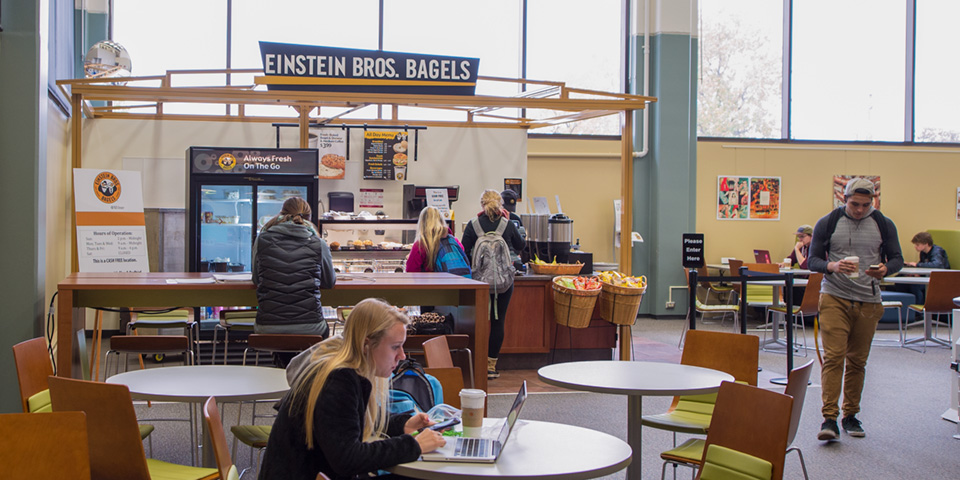 Students studying in Einstein's kiosk in Milner Library