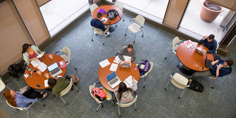 Students using study spaces