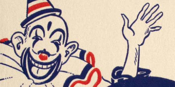 'Cole Brothers Circus Official Route, Program and Personnel for the Season of 1944' cover illustration of a clown waving