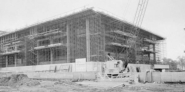 Milner Library, Illinois State University, under construction May 18, 1974
