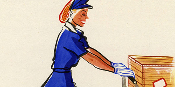 World War II color poster featuring Jenny on the Job pushing a cart with three boxes on it