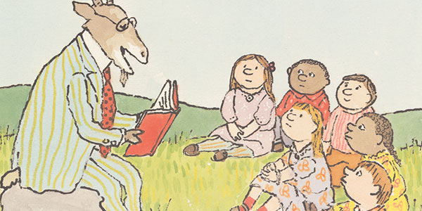 Illustration of a goat reading a book to children