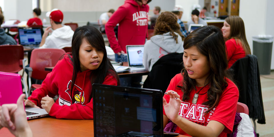 Two students working on an computer assignment together in Milner.